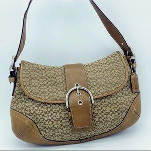 Coach tan signature soho buckle shoulder bag purse